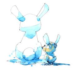 Dekorativ illustration av två kaniner