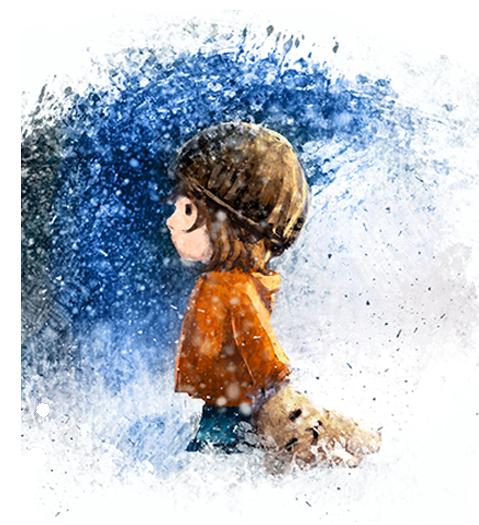 Dekorativ illustration av pojke som håller i gosedjur på vintern