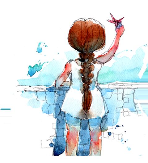 Dekorativ illustration av flicka bakifrån som håller upp blomma