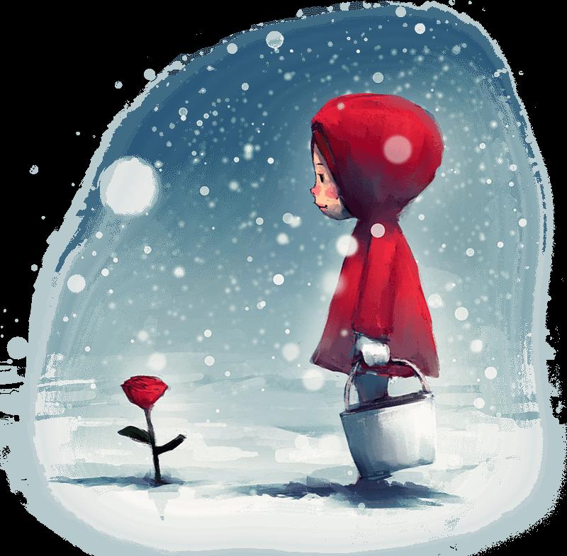 Dekorativ illustration av flicka och ros i snö