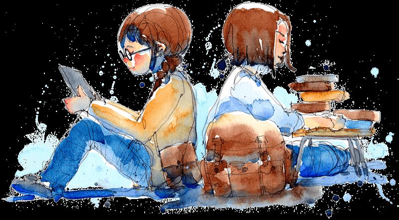 Dekorativ illustration av två ungdomar