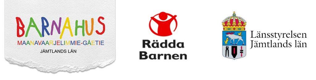 Logotyper för Barnahus, Rädda Barnen och Länsstyrelsen.